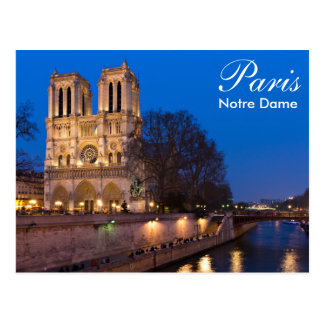 Paris - Notre Dame at night postcard