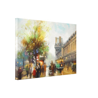 Paris on a Rainy Day. Watercolor Painting Canvas Print