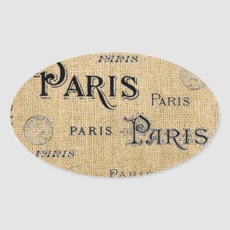 Paris on Burlap Oval Sticker