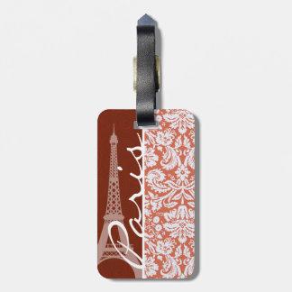 Paris; Orange Damask Luggage Tag