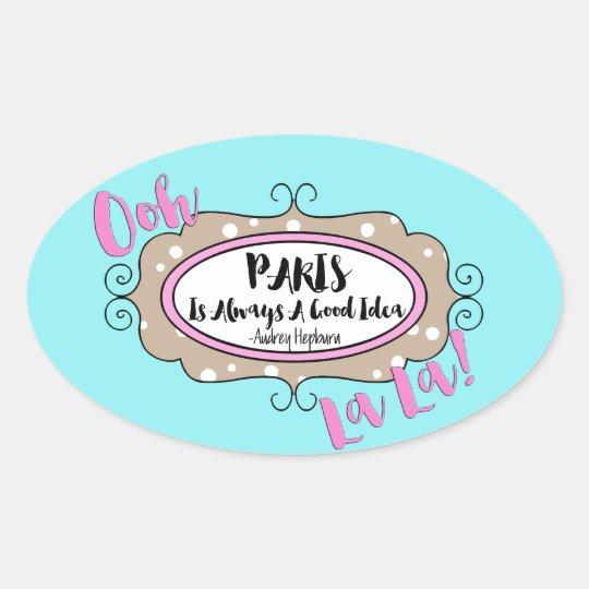 """Paris"" Oval Sticker"