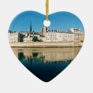 Paris Panorama - Ile Saint Louis Ceramic Heart Ornament