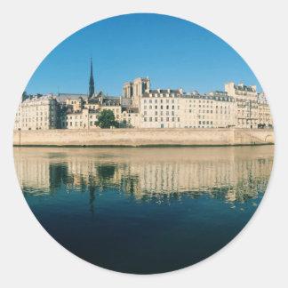 Paris Panorama - Ile Saint Louis Round Sticker