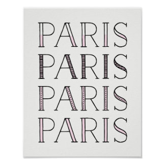 Paris Paris Paris | Blush Pink French Inspired Poster