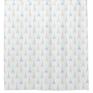 Paris Pastel Rainbow Eiffel Tower Shower Curtain