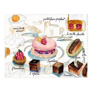 Paris Pastry Sketch watercolor Postcard