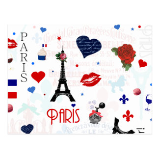 Paris pattern with Eiffel Tower Postcard