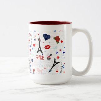 Paris pattern with Eiffel Tower Two-Tone Coffee Mug