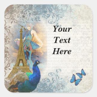 Paris peacock collage square sticker