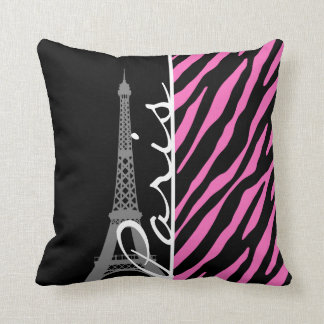 Paris; Pink & Black Zebra Print Throw Pillow