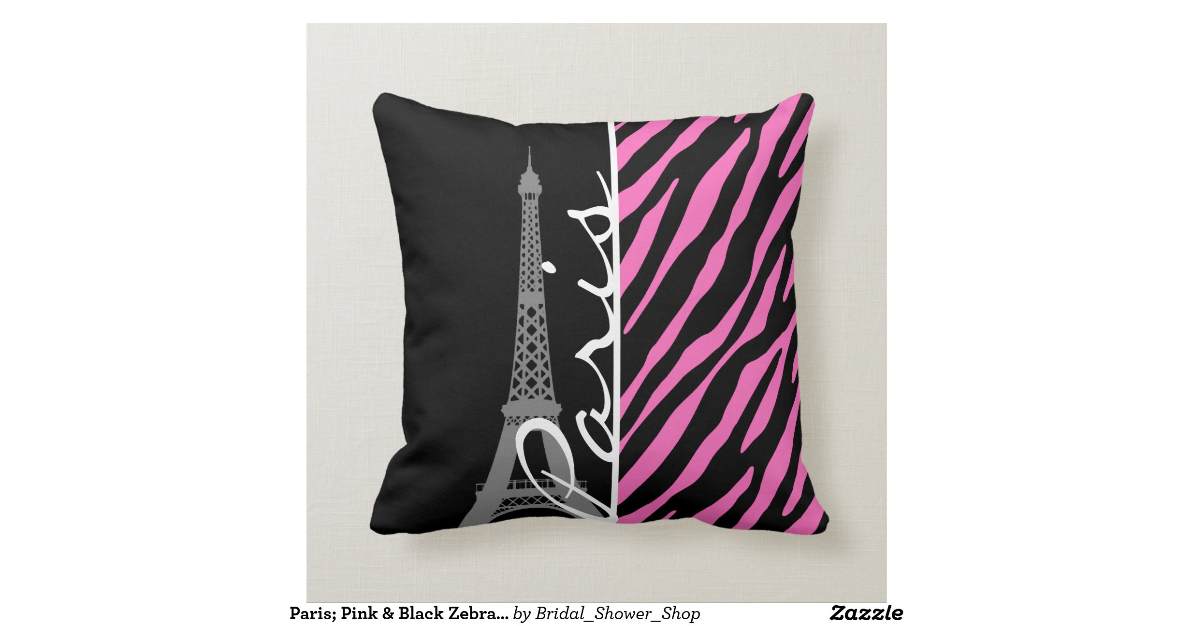 Pink Zebra Print Decorative Pillows : Paris; Pink & Black Zebra Print Throw Pillows Zazzle