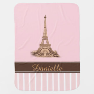 Paris Pink Brown Personalized Baby Blanket