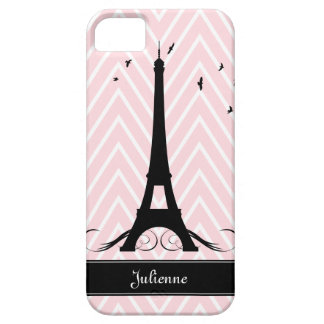 Paris Pink Chevrons Eiffel Tower iPhone 5 Cases