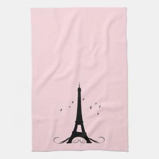 Paris Pink Eiffel Tower Kitchen Towel