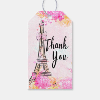 Paris Pink Floral Thank You All Occasion Gift Tag