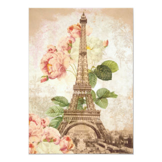Paris Pink Rose Vintage Romantic Invitation