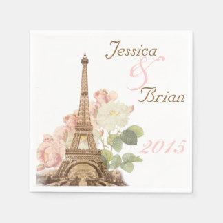 Paris Pink Rose Vintage Romantic Wedding Napkins Disposable Napkins