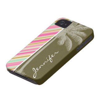 Paris; Pink & Seafoam Striped iPhone 4 Cover