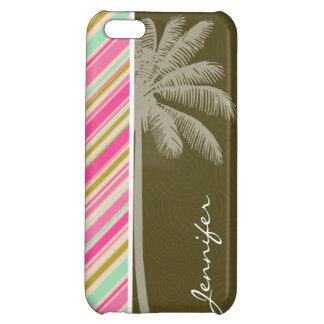 Paris; Pink & Seafoam Striped iPhone 5C Case