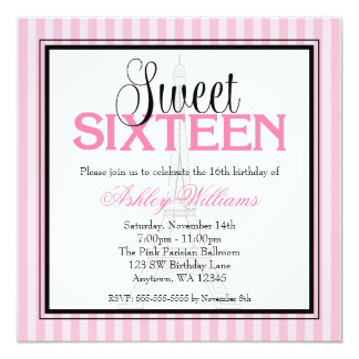 Paris Pink Stripes Sweet 16 Birthday Invitations
