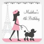Paris Poodle Birthday Stickers Square Stickers