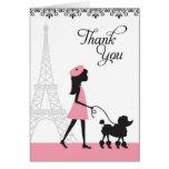 Paris Poodle Thank You Cards Cards