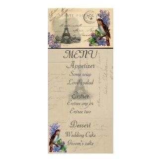Paris Postcard Bird on Lilacs Menu Card