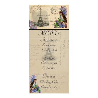 Paris Postcard Bird on Lilacs Menu Card Rack Card Template