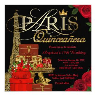 """Paris Quinceanera 5.25"""" Square Invitation Card"""