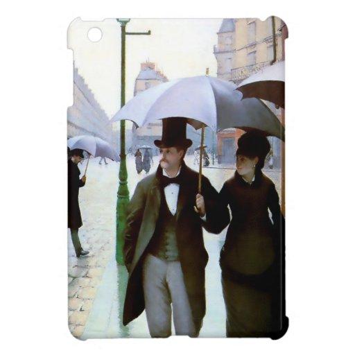 Paris rain couple under umbrella poster iPad mini cover