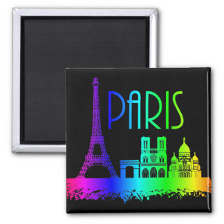 Paris Rainbow Monuments Eiffel Tower Square Magnet