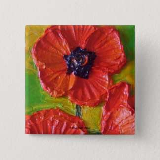 Paris' Red Poppies 2 Inch Square Button