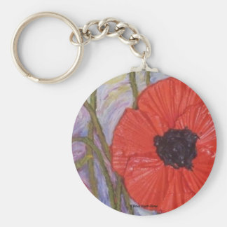 Paris' Red Poppies Basic Round Button Keychain