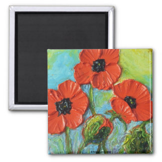 Paris' Red Poppy Painting Magnet