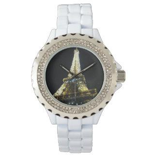 Paris Rhinestone White Enamel Watch