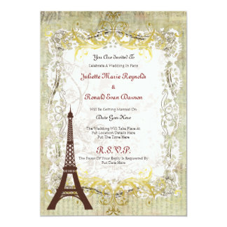 Paris Romantic Vintage Style Wedding Card