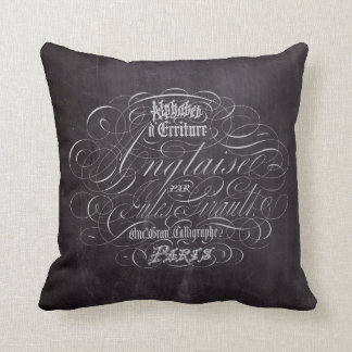 Paris rustic country chalkboard French Scripts Throw Pillow