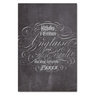 Paris rustic country chalkboard French Scripts Tissue Paper