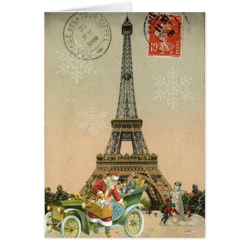 Paris Santa and Snowman Christmas Card | Zazzle
