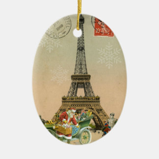 Paris Santa and Snowman Christmas Ornament