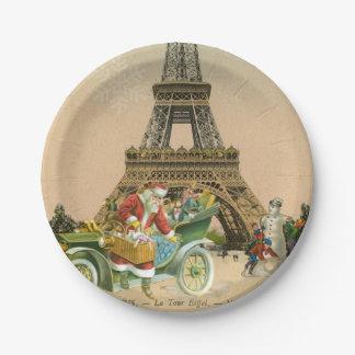 Paris Santa and Snowman Christmas Paper Plate