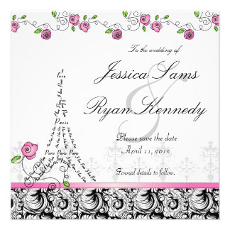 Paris Save the Date Wedding Card Black White Announcements