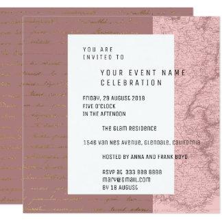 Paris Script Geometry Pink Rose Gold Metallic Plan Card