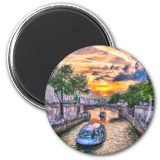 Paris Seine sunset 2 Inch Round Magnet