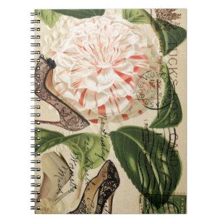 paris shoes floral french botanical art notebooks