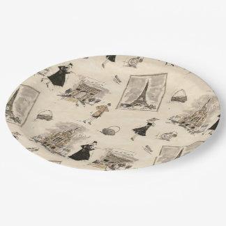 Paris Sights 1 Paper Plate