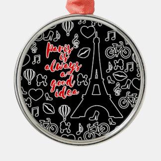 Paris Silver-Colored Round Ornament