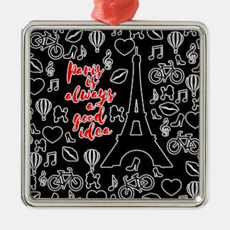 Paris Silver-Colored Square Ornament
