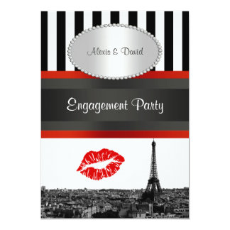 Paris Skyline BW Stripe Red Kiss PV Engagement Card