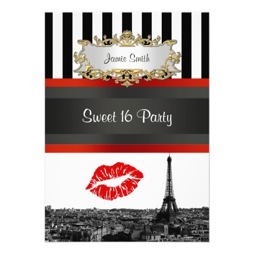 Paris Skyline BW Stripe Red Kiss Sweet 16 Party Custom Invites
